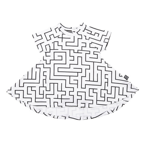 Kipp Kids Short Sleeve Spin Dress - Maze White/Black