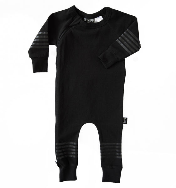 Kipp Kids Five Stripe Zip Romper - Black/Black