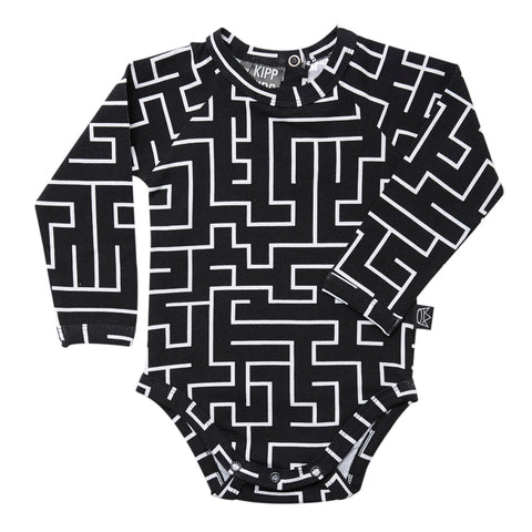 Kipp Kids Long Sleeve Onesie -  Maze Black/White