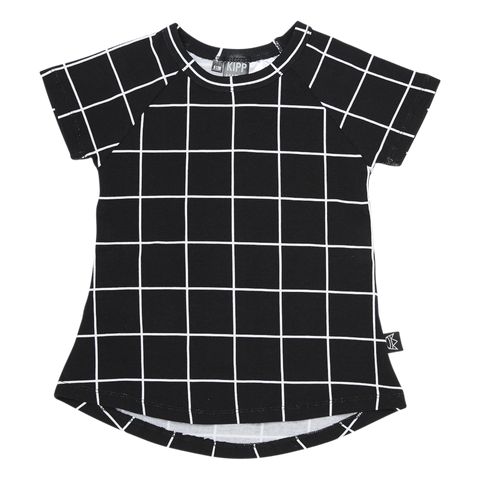 Short Sleeve T Dress in Black/White Check
