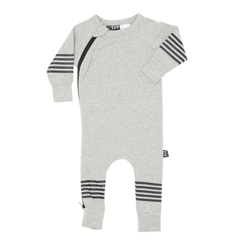 Kipp Kids Five Stripe Zip Romper in Grey/Black