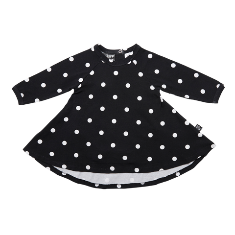 Kipp Kids Long  Sleeve Spin Dress - Dot It Black/White