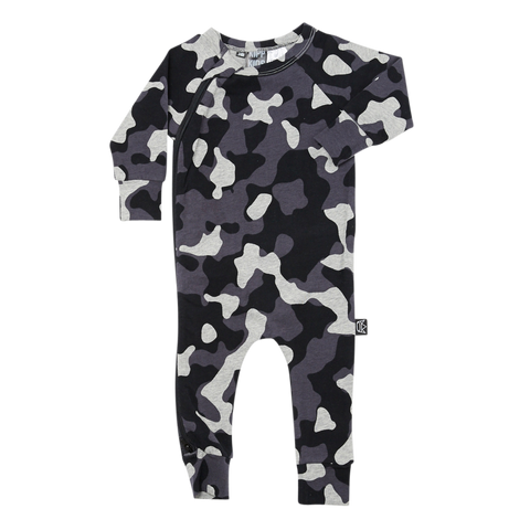 Kipp Kids Long Sleeve Baby Zip Romper in Camo