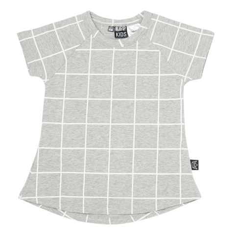 Short Sleeve T Dress in Grey/White Check