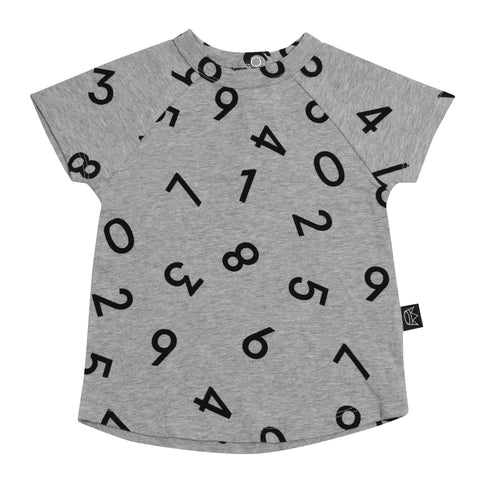 Kipp Kids Short Sleeve T-shirt - Numbers Grey/Black