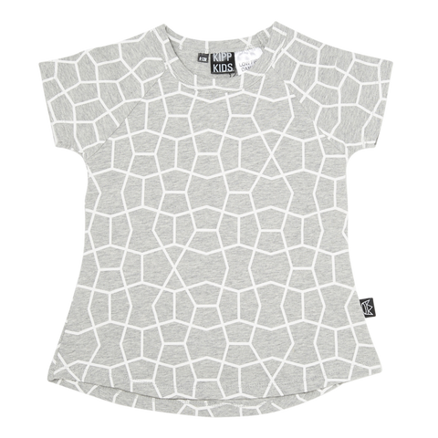 Short Sleeve T Dress in Grey/White Hex Print