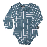 Kipp Kids Long Sleeve Onesie - Maze Sea/White