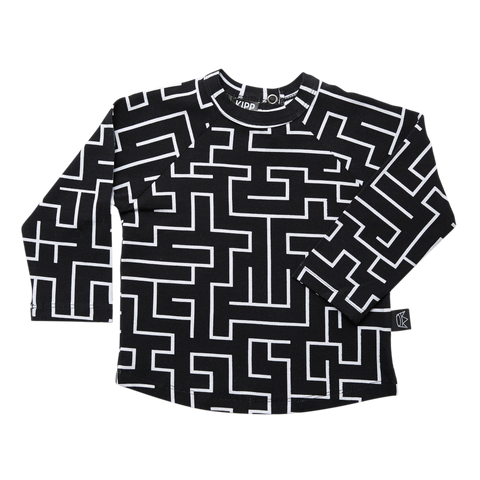 Kipp Kids Long Sleeve T-shirt - Maze Black/White