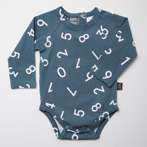 Kipp Kids Long Sleeve Onesie - Numbers Sea/White