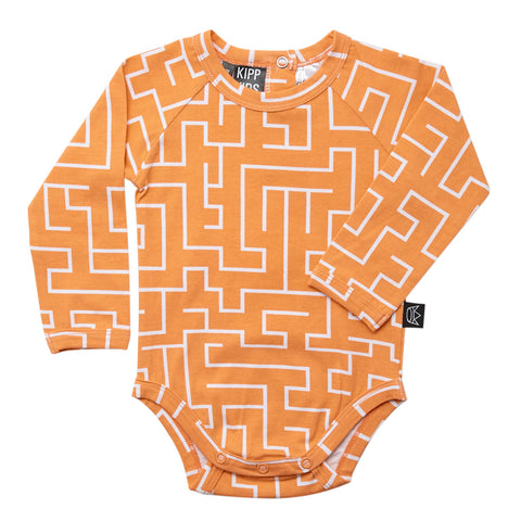 Kipp Kids Long Sleeve Onesie - Maze Melon/White