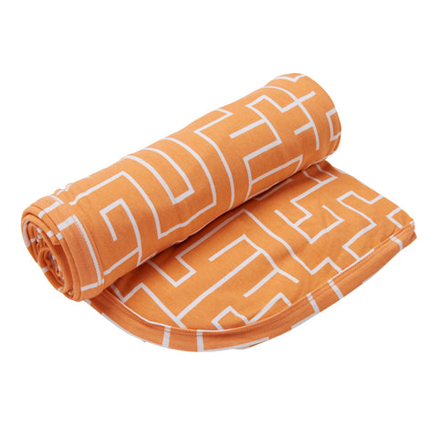 Kipp Kids Swaddle Blanket - Maze Melon/White