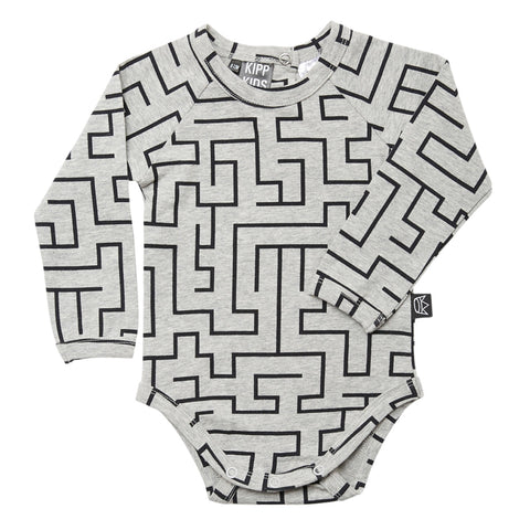 Kipp Kids Long Sleeve Onesie - Maze Grey/Black