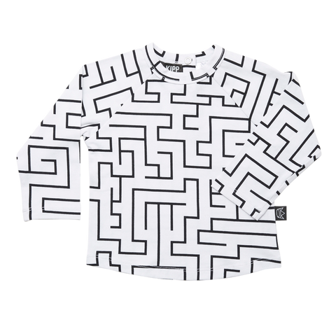 Kipp Kids Long Sleeve T-shirt - Maze White/Black
