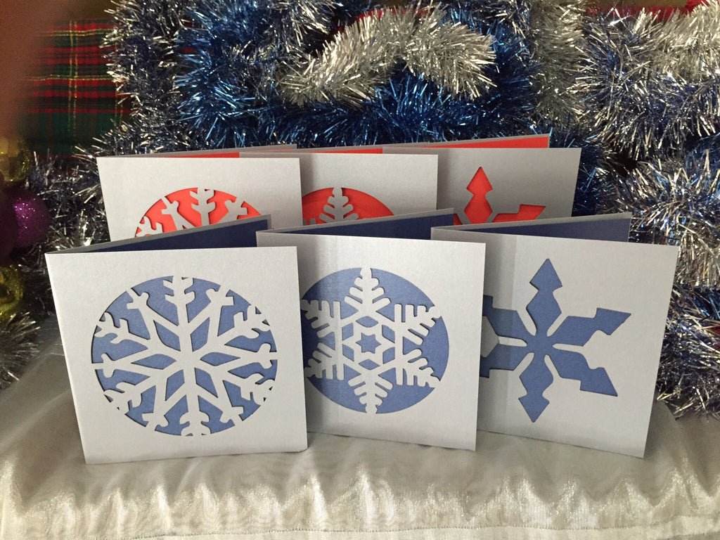 Snow Flake Christmas Card Pack *with flair* - Swank Creations - 1