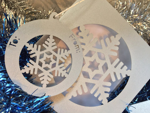 Snow Flake Bauble Gift Tags