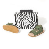 pretty brave child sandal khaki box
