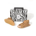 pretty brave child sandal tan box