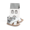 grey white criss cross sandal box Pretty Brave baby shoes