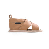 tan cross-over sandal side Pretty Brave baby shoes