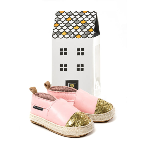 Pretty Brave Soft Pink with Glitter Toe Espadrille with house box
