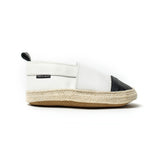 white with black toe espadrille side Pretty Brave baby shoes