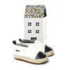 white with black toe espadrille box Pretty Brave baby shoes