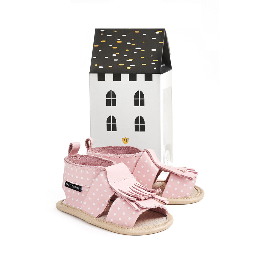 Pretty Brave Pink with White Dots Fringe Sandal with box