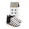 black & white stripe slip-ons box Pretty Brave baby shoes