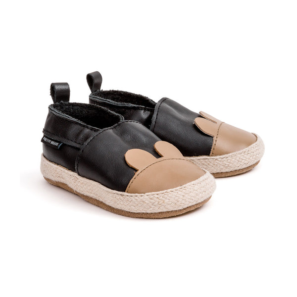 black bear espadrille pair Pretty Brave baby shoes zoo