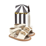 brown woven sandal box Pretty Brave baby shoes