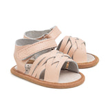 summer pink woven sandal pair Pretty Brave baby shoes