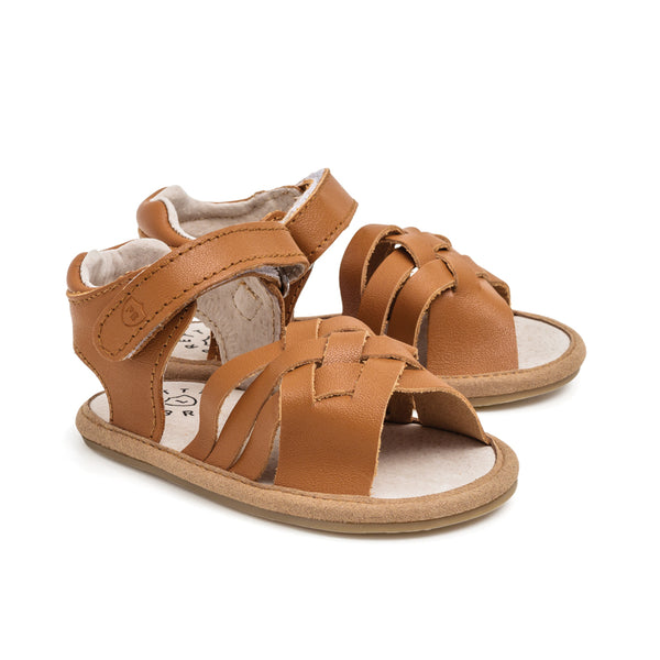 brown woven sandal pair Pretty Brave baby shoes