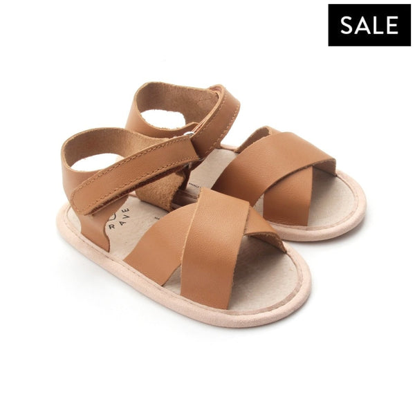 chestnut valencia sandal pair of Pretty Brave baby shoes