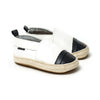 white with black toe espadrille pair Pretty Brave baby shoes