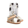Gold Valencia sandal box Pretty Brave baby shoe