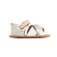 Gold Valencia sandal side Pretty Brave baby shoe