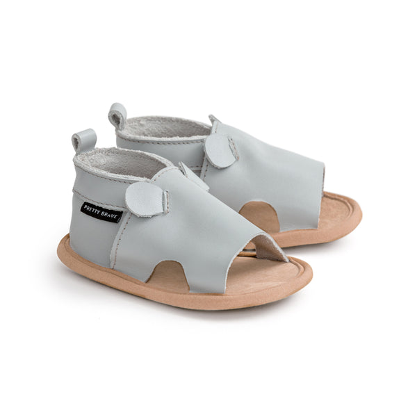 grey mouse menorca sandal pair Pretty Brave baby shoes zoo