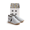 grey stripe slip-on box Pretty Brave baby shoes