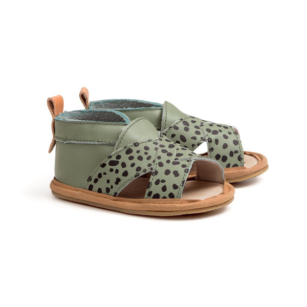 jungle spots cross-over sandal pair Pretty Brave baby shoes