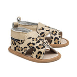 cross-over leopard sandal pair PrettyBrave baby shoe