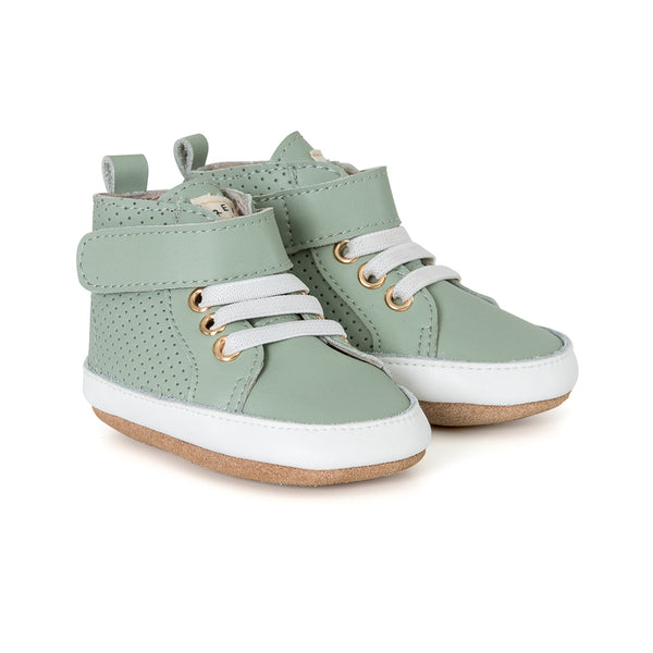 moss hi-top pair Pretty Brave baby shoes