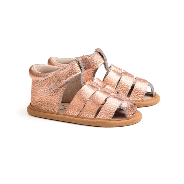 rio rose gold pair Pretty Brave baby shoes
