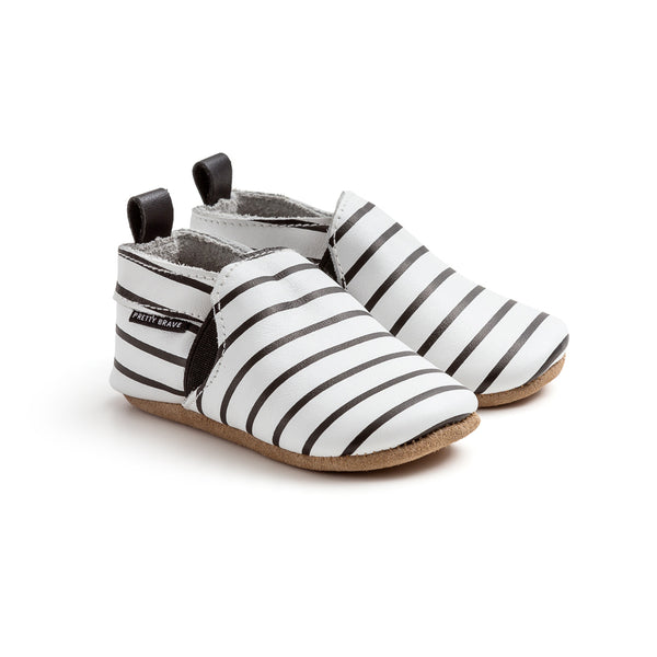 stripe slip-on pair Pretty Brave baby shoes