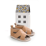 tan cross-over sandal box Pretty Brave baby shoes