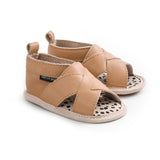tan cross-over sandal pair Pretty Brave baby shoes