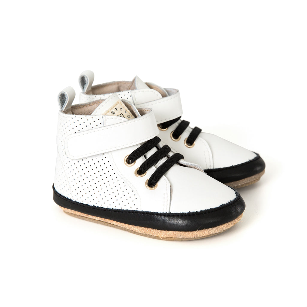 white hi-top pair Pretty Brave baby shoes