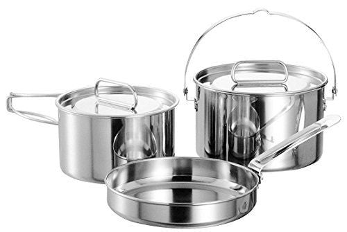 CAPTAIN STAG M-5530 Laguna Stainless Steel Cooker M Set Outdoor Cookware NEW_1