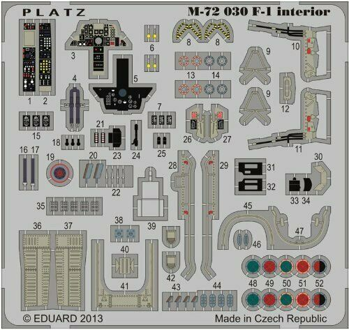 Platz 1/72 Detail Up Etching Parts for JASDF F-1 (for Interior) Plastic Model_1