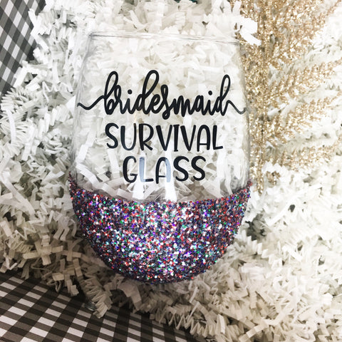 Bridesmaid Survival Glass - Wine Glass