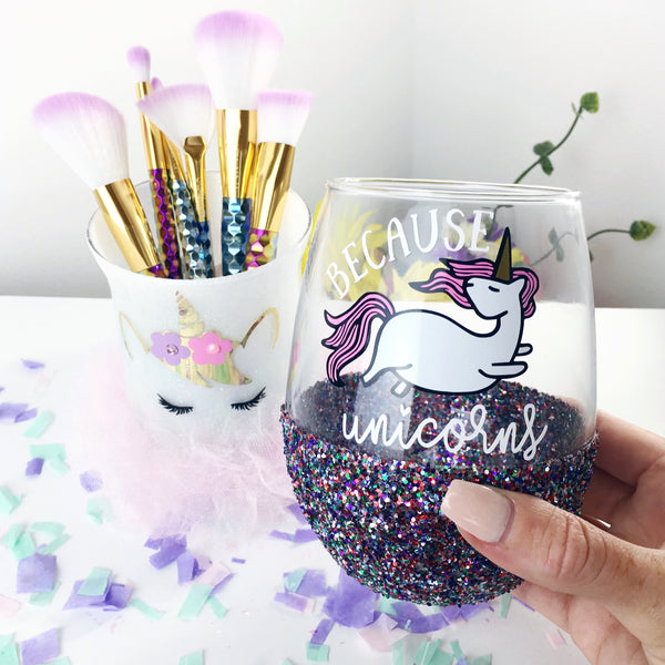 Because Unicorns - Wine Glass